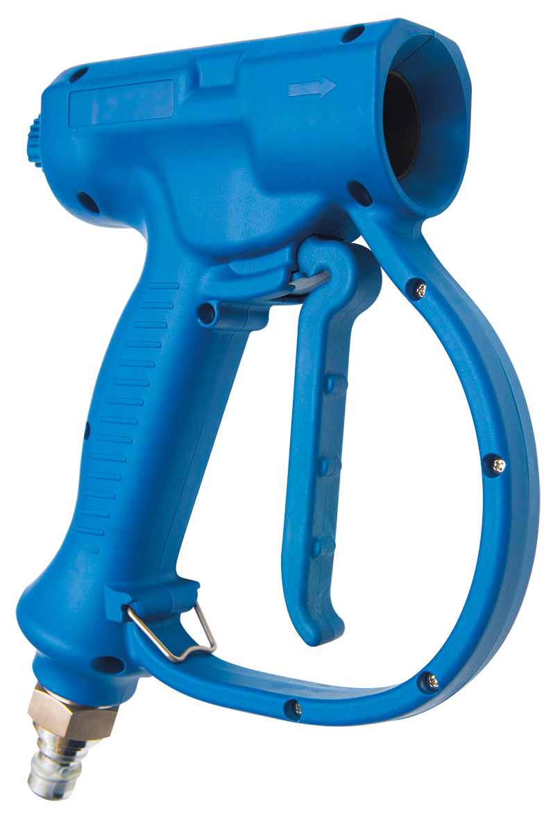 Shock-resistant trigger-operated hand spray with adjustable jet (ref