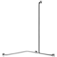 5481DP2-Angled shower grab bar with vertical bar, bright stainless steel