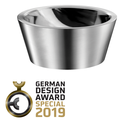 "2019 German Design Award: ""SPECIAL MENTION"" for the ALGUI stainless steel countertop washbasin"
