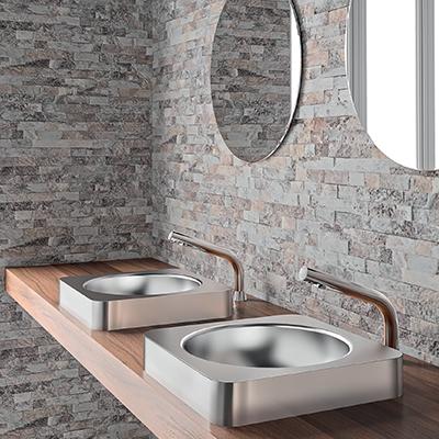 Tall BINOPTIC for countertop or semi-recessed washbasins