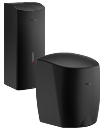 Black wall-mounted soap dispenser